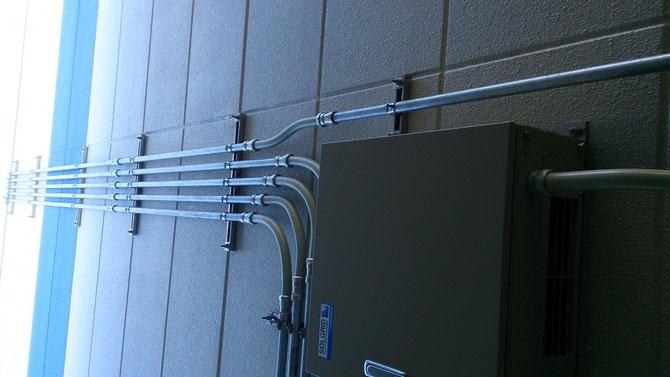 厚鋼電線管の配線工事です。