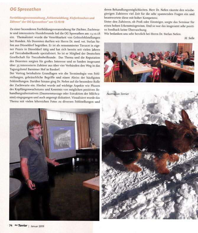 """Unser Bericht im """"der Terrier"""" Ausgabe 1/2019, Seite 74"""