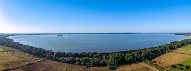 Panoramaaufnahme Steinhuder Meer mit Insel Wilhelmstein. Multicopteraufnahme von www.PhoeniXworX.de