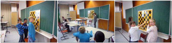 Die sieben neuen Schüler/innen der 5. Klasse sind hier bereits beim Theorie-Unterricht an der Magnet-Tafel  unter sich. Die 4 Schüler der 6. Klasse sind zu dem Zeitpunkt nach 45 Minuten bereits zum Wahlfach, Musik-Unterricht gegangen.