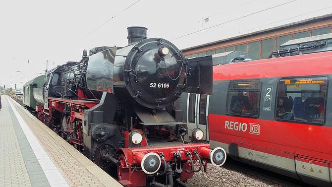 Zwischenhalt in Trier Hbf auf der Überführung nach Ettlingen