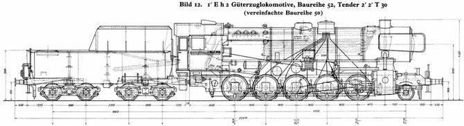 Konstruktionszeichnung der Baureihe 52 - Quelle: http://dlok.dgeg.de/
