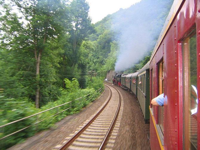 Die Fahrt durch das Lahntal in Richtung Nassau aus dem Zug heraus gesehen - Foto: Martin Hostert