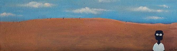 NALA auf der Piste, von Tafadzwa Mitchell Gatsi, (47cm x 14 cm ) Acryl auf Leinwand aus Hardboard