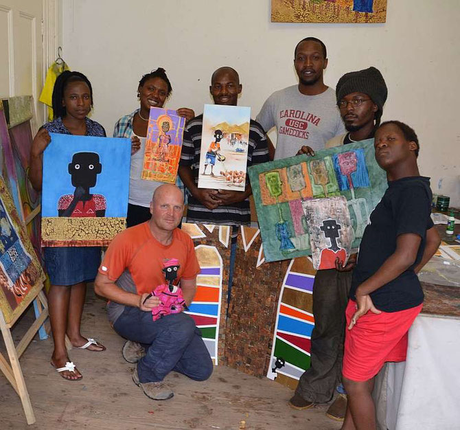 Artists in Bulawayo, Zimbabwe  (from left to right) Nonhlanhla Mathe, André Pilz, Zandile Masuku, Stanley Sibanda, Brian Kumira, Tafadzwa Gwetai, Nompilo Nkoma (not on the photo, Dumisani Ndlovu)