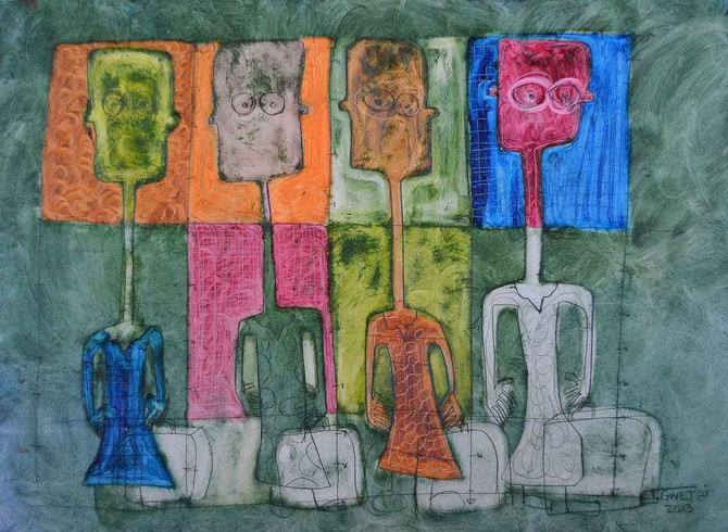 NALA geht einkaufen. (64cm x 47cm) Ölfarbe auf Papier, von Tafadzwa Gwetai, Bulawayo / Zimbabwe