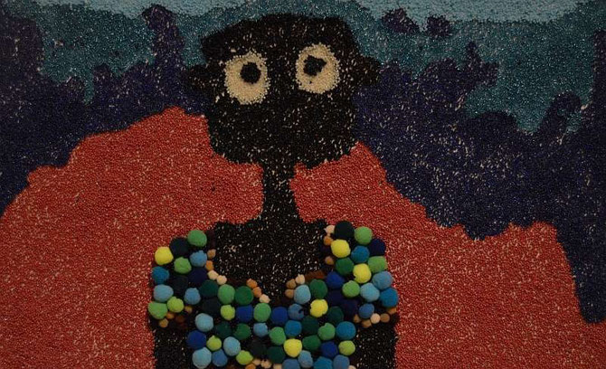 NALA feeling cold, made by Selma Iipinge. Beads on Hardboard.