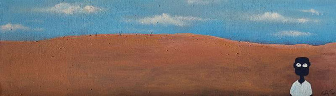 """NALA on the Road"" by Tafadzwa Mitchell Gatsi, ( 47cm x 14 cm ) Acrylic on Canvas on Hardboard"