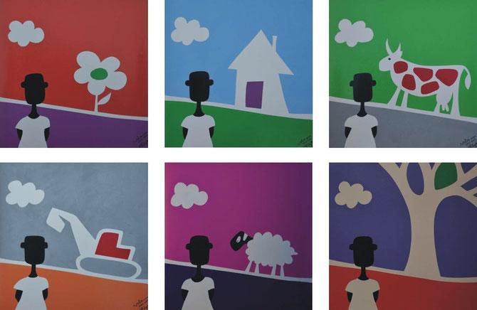 NALA unterwegs, von André Pilz, Marabu Siebdruckfarbe auf LKW Plane, ( 30cm x 30cm jedes Bild)