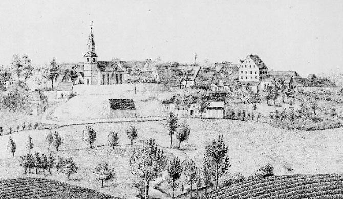 Blick von Nordosten auf das Dorf
