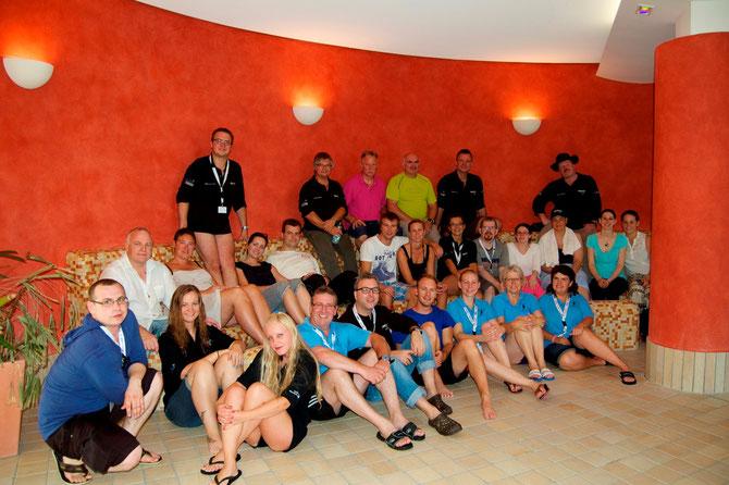 Alle Teilnehmer-/Innen, Instruktoren und Helfer von Model Aquagraphie 2014. Fotograf: Rodrigo Pacher