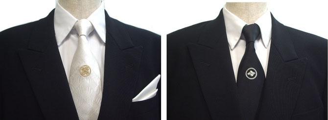 慶事用白家紋ネクタイと弔辞用黒家紋ネクタイ ポケットチーフはシャンパンゴールド