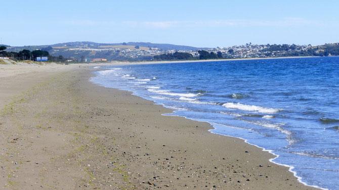Nach langer Zeit genießen wir mal wieder Strandspaziergänge (Pazific) auf der Insel Chiloe in der Nähe von Ancud.