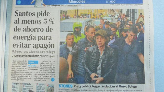 Konzert der Rolling Stones in Bogota am 10.03.2016 - Mick Jagger schaut allerdings eher so aus der Wäsche, als ob man ihn gerade erwischt hätte.