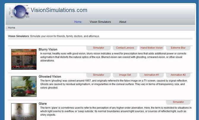 レーシック後遺症の恐ろしい視界が体験できるVisionsimulations.comのサイト