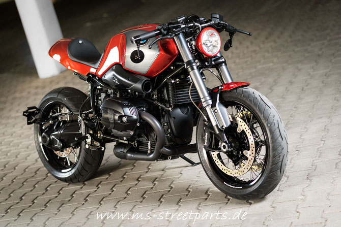 BMW R nineT red-orange Umbau Custom Cafe Racer Heck MS StreetParts Wenzenbach Regensburg