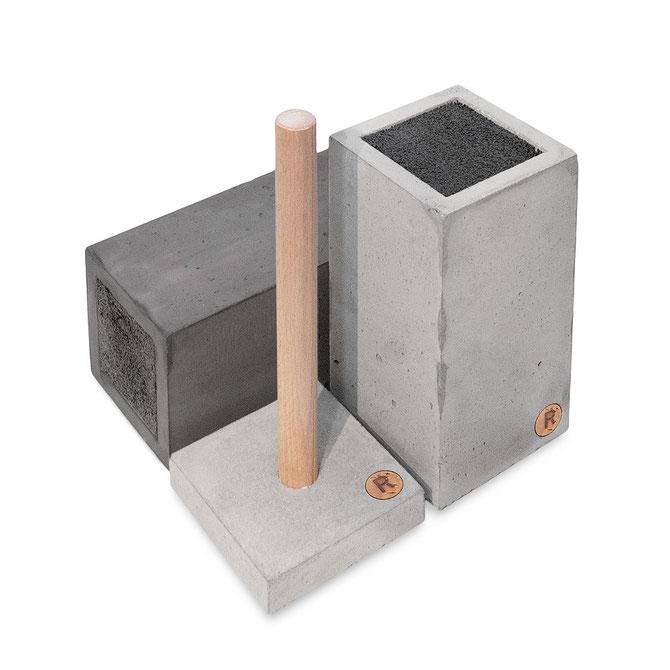 Beton Messerblock, Beton Messerblock Schwarz, Küchen Rollenhalter