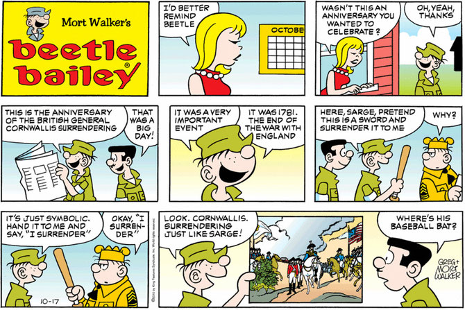 Battle of Yorktown, inaccurate comment by Beetle Bailey