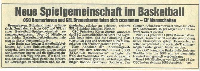 Die Nordsee-Zeitung befasst sich am 16. März 1991 mit der Gründung der Spielgemeinschaft