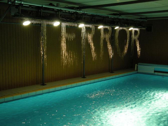 Julius Popp: Wasser-Lichtinstallation BIT.FALL in einen privaten Schwimmbad