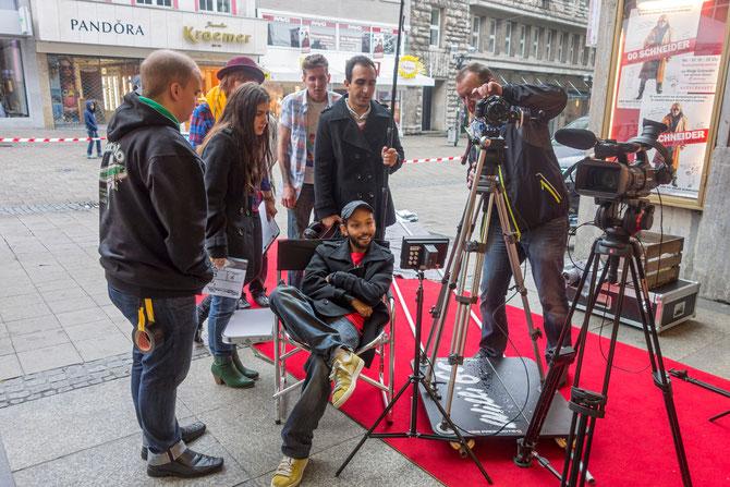 Dreharbeiten zum Netzwerk-Trailer, der in allen Essener Programmkinos und der Lichtburg gezeigt wurde