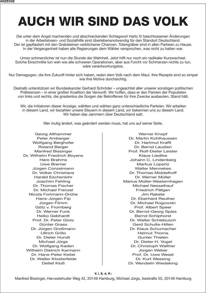Anzeigenkampagne vom 2. Oktober 2004 in der Süddeutschen Zeitung