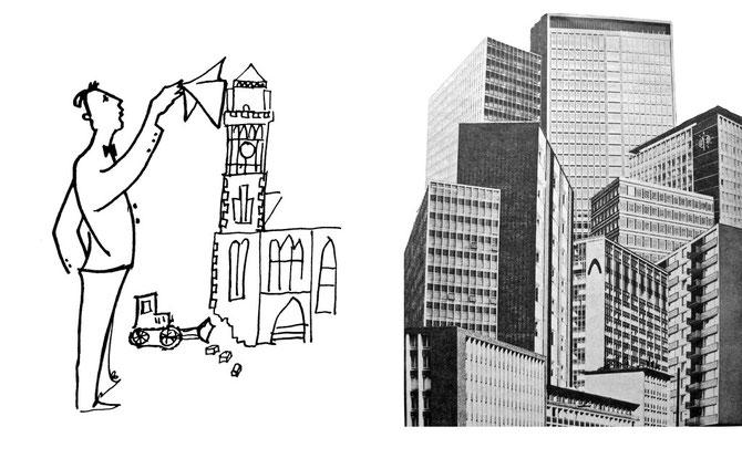 """Man weinte dem alten Rathaus keine Träne nach und feierte Essens Hochhäuser wie in dieser Montage als """"Perlen in der Stadtkrone"""" (Quelle: Essener Bürgerillustrierte Juni 1969)"""