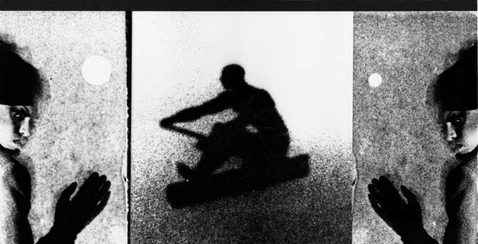 Vorderseite der Einladungskarte zur Ausstellung, Abbildung: Hallo/Auf Wiedersehen, Doris Schöttler-Boll 1986
