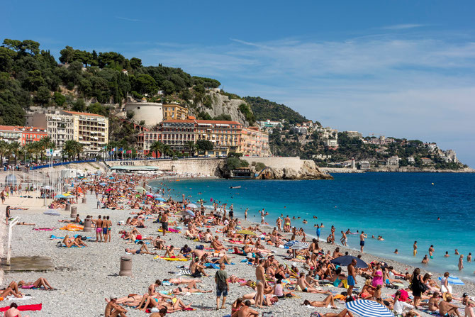 Kiesstrand in Nizza