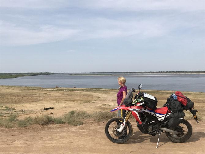 Träge Wolga auf dem Weg nach Astrahan