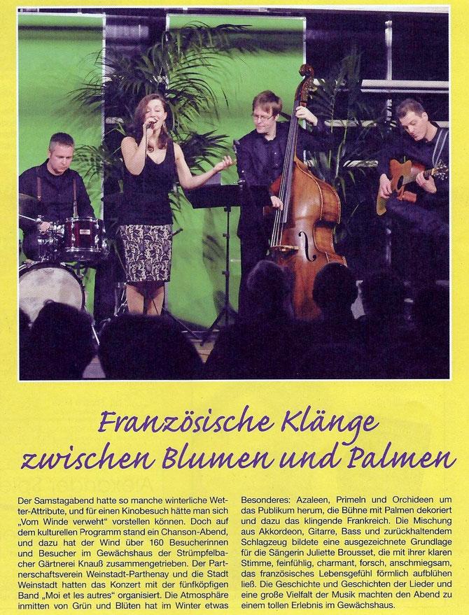 Veröffentlichung im Blättle der Druckerei Grübel vom 12.02.14