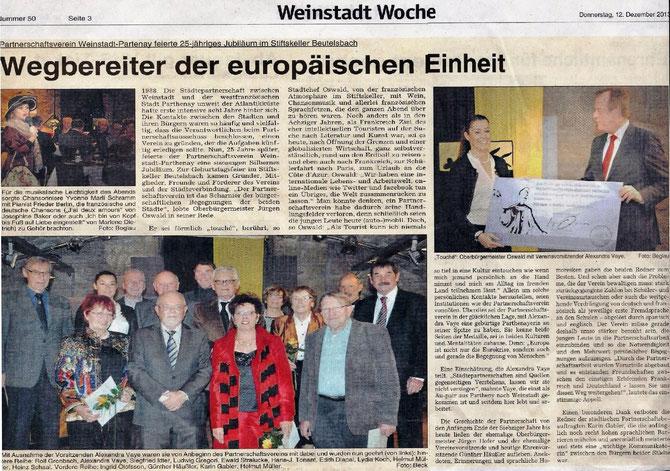 Veröffentlichung vom 12.12.13 in der Weinstadtwoche zum 25 jährigen Bestehen des Partnerschaftsvereins Weinstadt-Parthenay