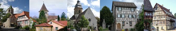 Bilder aus allen 5 Stadtteilen, von links nachs rechts, Beutelsbach, Endersbach, Großheppach, Schnait, Strümpfelbach