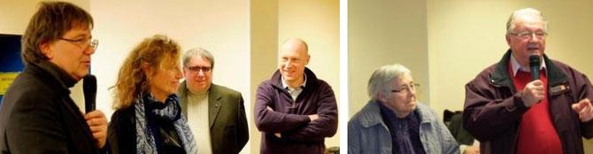 Christian Piélot, Christine Le Callonec, Yves Le Cuziat et Vincent Carpentier. A droite, les témoins Jacqueline Sehier et Claude Lemonnier