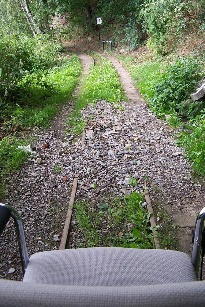 2012: Erste Fahrt mit dem Schienenfahrrad,Strecke teilweise verschüttet.