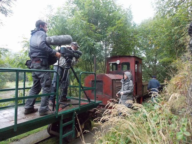 9'13: MDR Filmaufnahmen / öffentl.Güterzugpräsentation am Denkmaltag