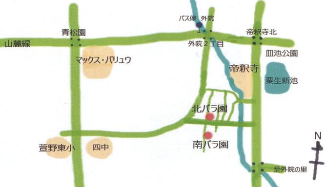 粟生外院「バラ編」へのマップ(ちらし(裏)から。一部を拡大)