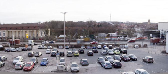 Blick vom Stadthaus auf  die Baustelle Stauraumkanal an der Orangerie, 31.01.2013