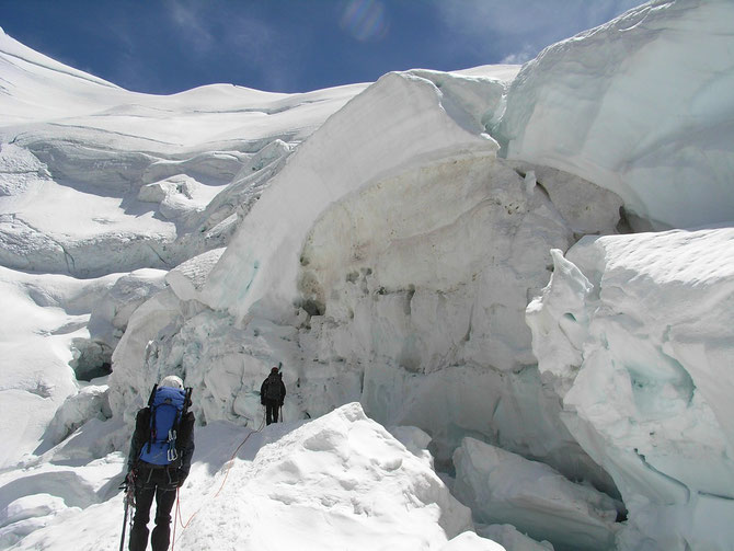 Gang durch den Gletscherbruch