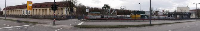 Panorama mit Orangerie - Bauastelle Stauraumkanal - Volkshaus, 02.02.2013