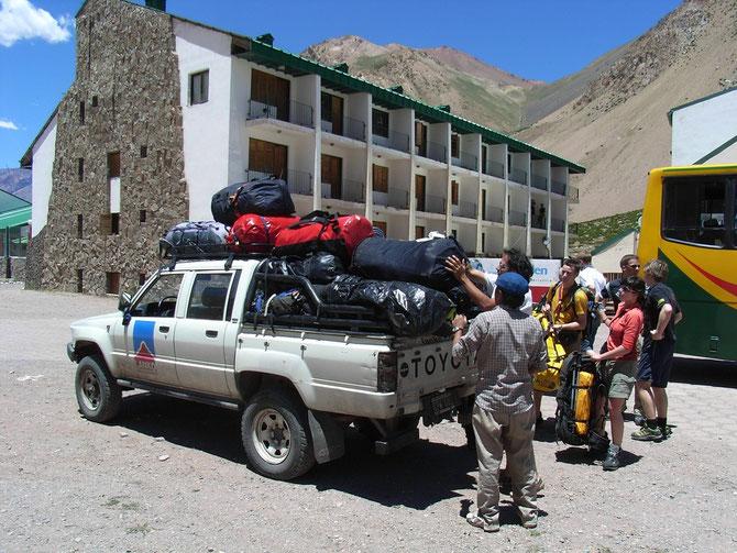 Transfer vom Busterminal in Los Penitentes zur Hütte