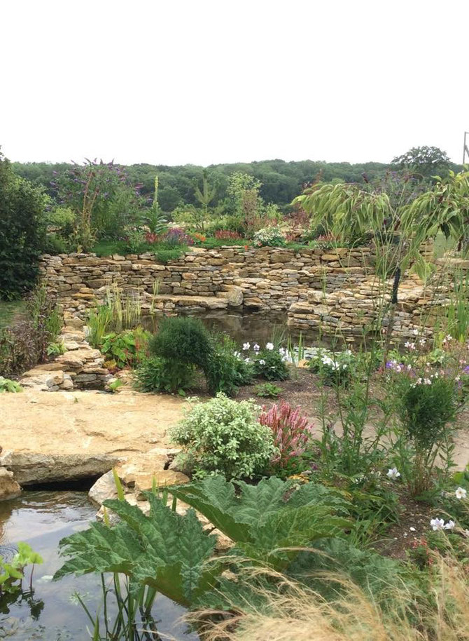 Drystone walling, rockery, and stone bridge - made with single slab