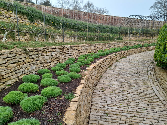 Stone terracing using dry stone walling - functional, artistic, natural, and practical - near Castle Cary