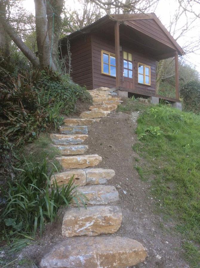 Flat rockery stones used as steps