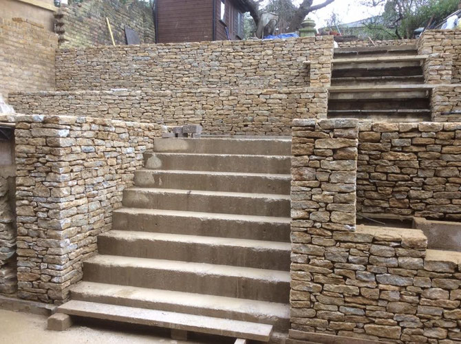 Terracing for London house under construction - this has been cut to 5 inch on bed from walling stone