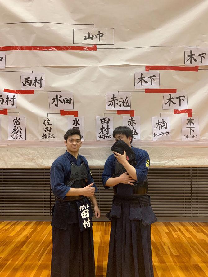 全日本学生選手権大会出場を果たした田村選手。隣は租父江主将。
