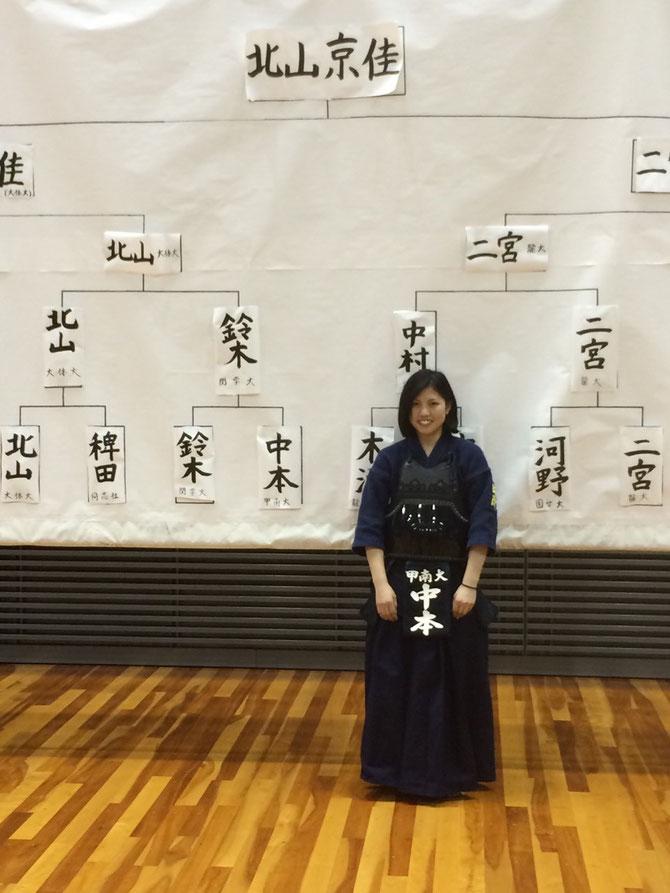 ベスト16進出を果たし、本学女子としては4年ぶりに全日本大会への切符を手にした中本 夏海 選手(3年)
