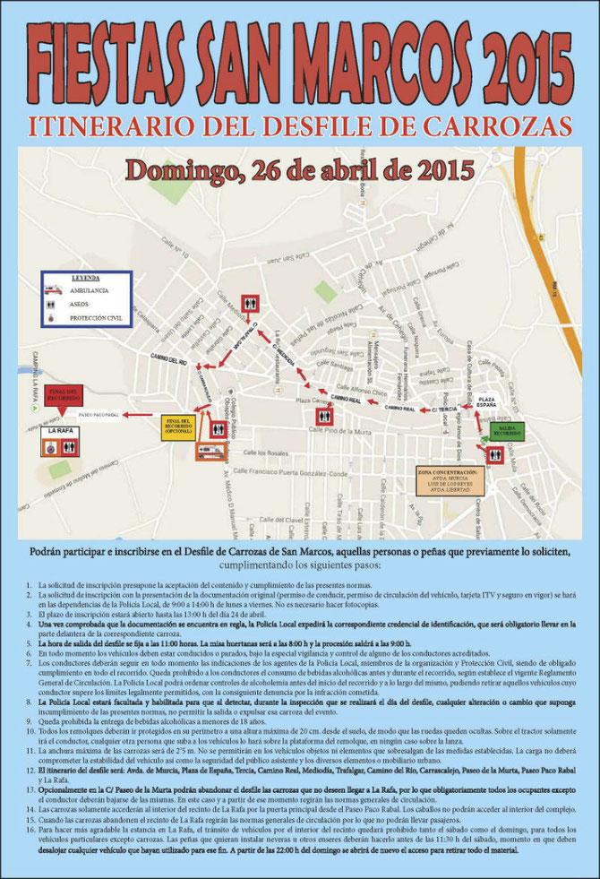 Itinerario del desfile de carrozas en las Fiestas de San Marcos 2015 en Bullas
