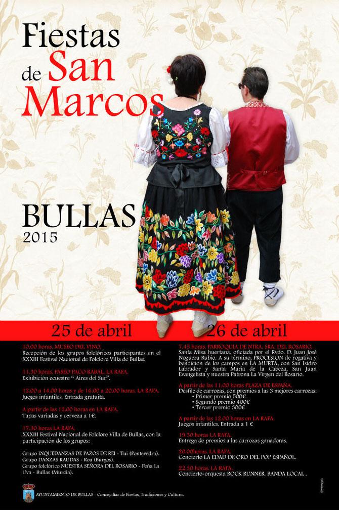 Programa y cartel de las Fiestas de San Marcos 2015 en Bullas www.nuestrasfiestas.com