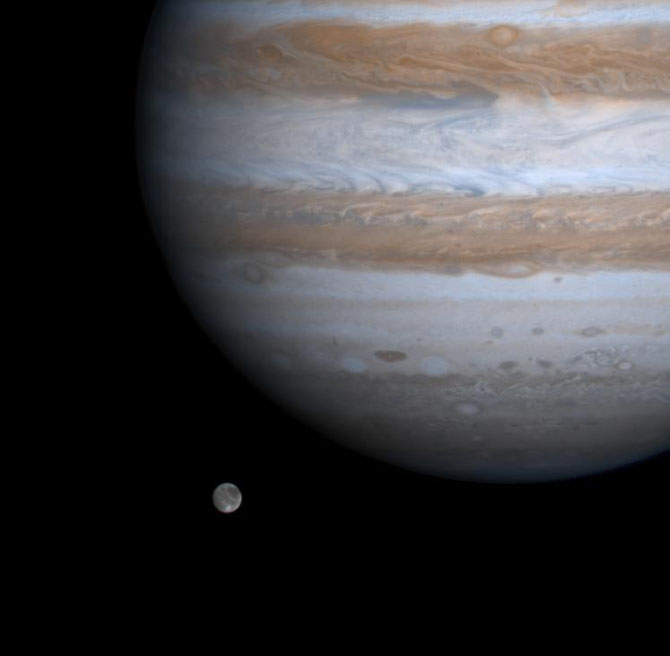 Ganymed & Jupiter (Quelle: NASA)